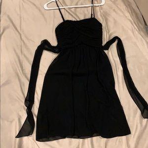 Chiffon black dress with removable spaghetti strap